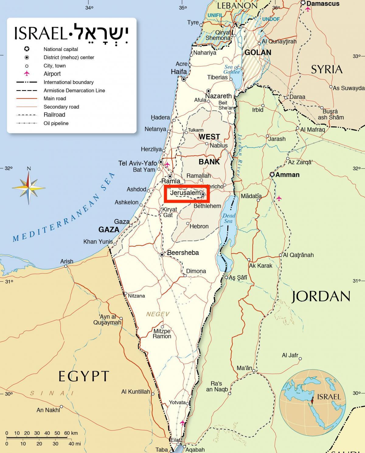 kart over israel Jerusalem på kartet   Jerusalem på kart over verden (Israel) kart over israel